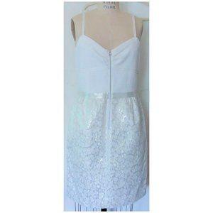 MARC NY WHITE SILVER KNIT JACQUARD SHEATH DRESS 14